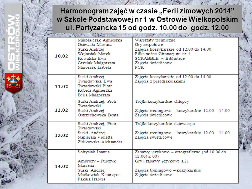 """Harmonogram zajęć w czasie """"Ferii zimowych 2014 w Szkole Podstawowej nr 4 w Ostrowie Wielkopolskim"""