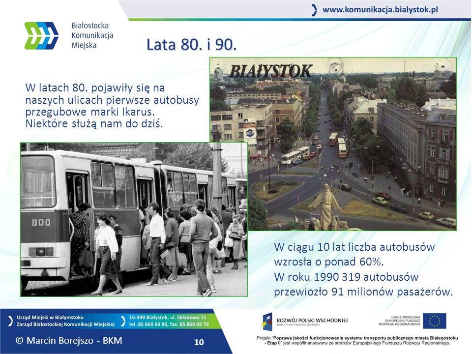 10 Lata 80. i 90. Lata 80. i 90. W latach 80. pojawiły się na naszych ulicach pierwsze autobusy przegubowe marki Ikarus. Niektóre służą nam do dziś. W