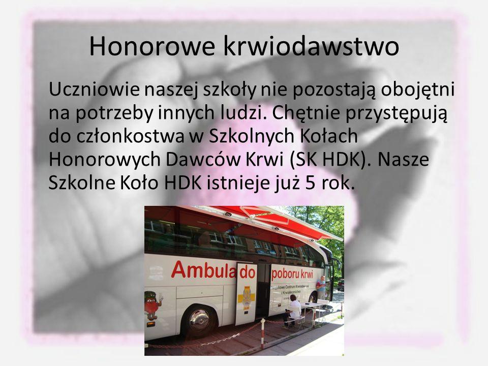Honorowe krwiodawstwo Uczniowie naszej szkoły nie pozostają obojętni na potrzeby innych ludzi.