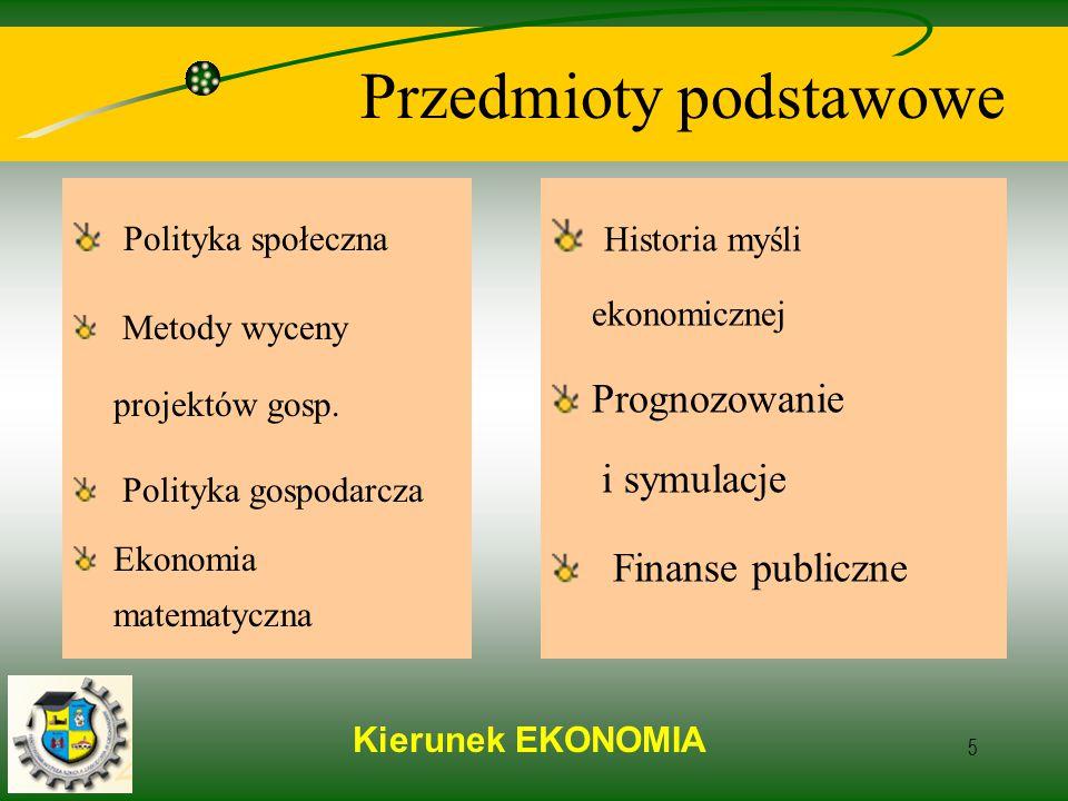 Kierunek EKONOMIA 5 Przedmioty podstawowe Polityka społeczna Metody wyceny projektów gosp.