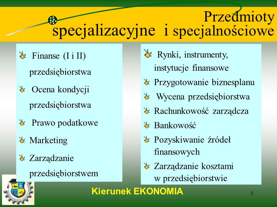Kierunek EKONOMIA 6 Przedmioty specjalizacyjne i specjalnościowe Finanse (I i II) przedsiębiorstwa Ocena kondycji przedsiębiorstwa Prawo podatkowe Marketing Zarządzanie przedsiębiorstwem Rynki, instrumenty, instytucje finansowe Przygotowanie biznesplanu Wycena przedsiębiorstwa Rachunkowość zarządcza Bankowość Pozyskiwanie źródeł finansowych Zarządzanie kosztami w przedsiębiorstwie
