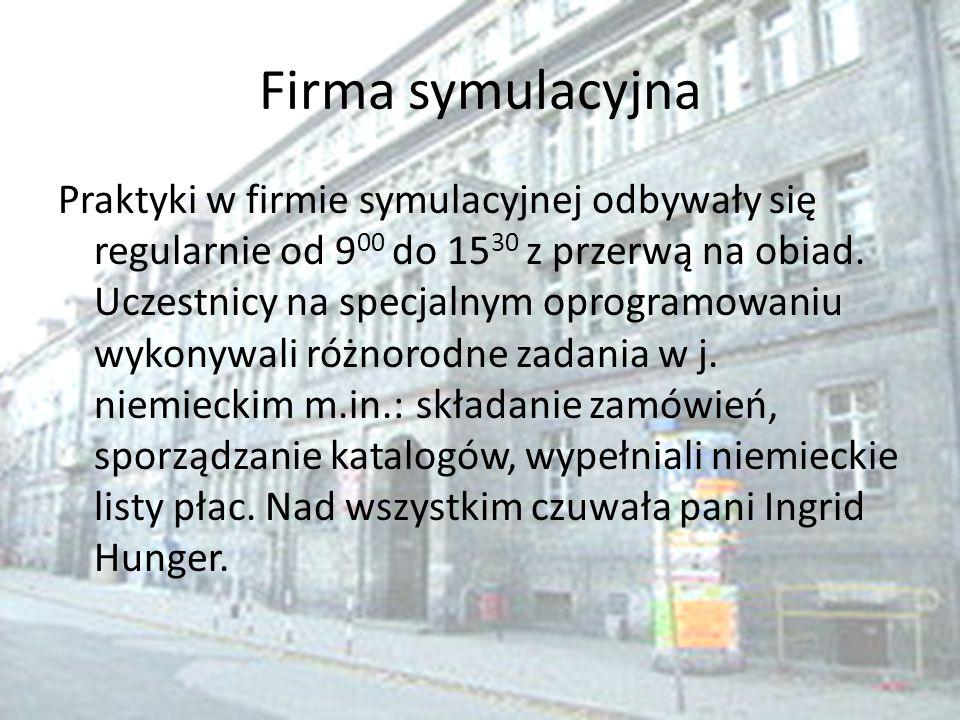 Firma symulacyjna Praktyki w firmie symulacyjnej odbywały się regularnie od 9 00 do 15 30 z przerwą na obiad. Uczestnicy na specjalnym oprogramowaniu