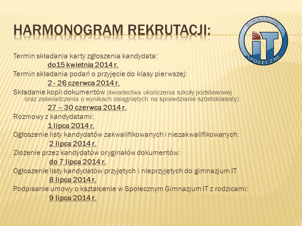 Termin składania karty zgłoszenia kandydata: do15 kwietnia 2014 r.