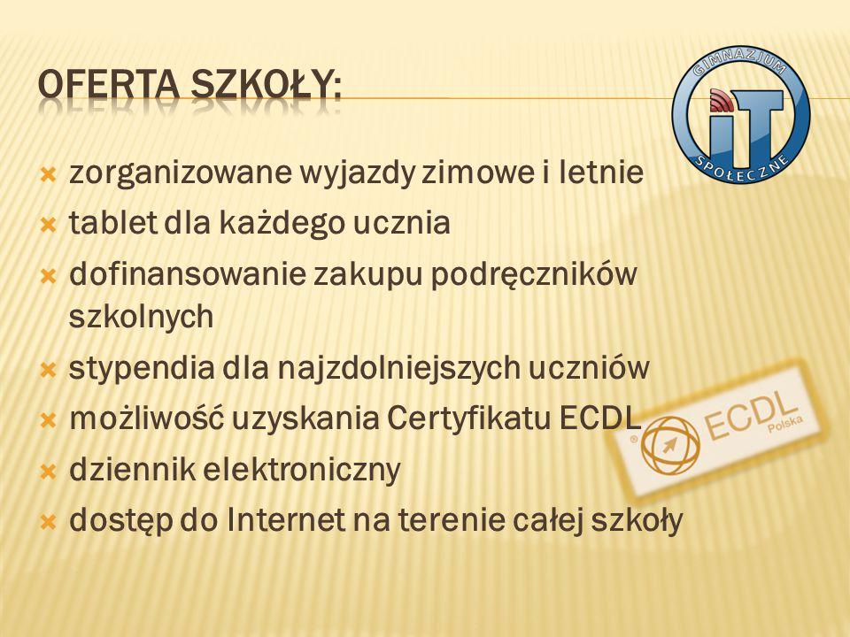  zorganizowane wyjazdy zimowe i letnie  tablet dla każdego ucznia  dofinansowanie zakupu podręczników szkolnych  stypendia dla najzdolniejszych uczniów  możliwość uzyskania Certyfikatu ECDL  dziennik elektroniczny  dostęp do Internet na terenie całej szkoły