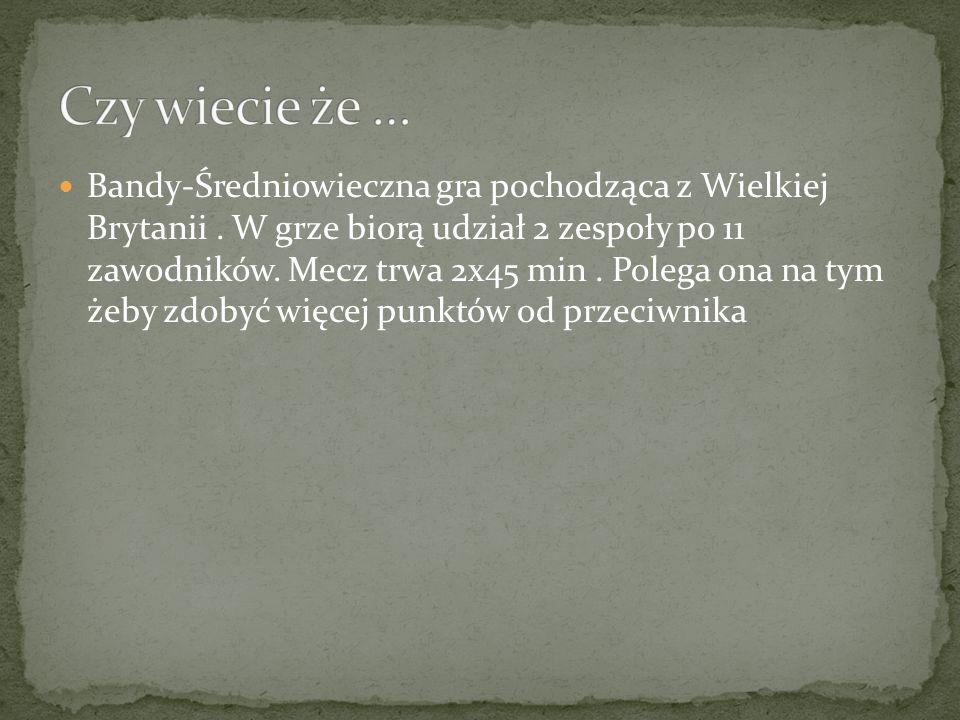 Bandy-Średniowieczna gra pochodząca z Wielkiej Brytanii.