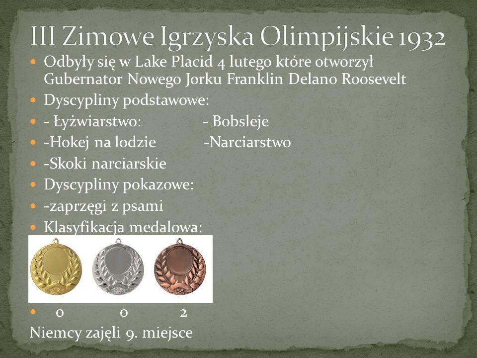 Odbyły się w Lake Placid 4 lutego które otworzył Gubernator Nowego Jorku Franklin Delano Roosevelt Dyscypliny podstawowe: - Łyżwiarstwo: - Bobsleje -Hokej na lodzie -Narciarstwo -Skoki narciarskie Dyscypliny pokazowe: -zaprzęgi z psami Klasyfikacja medalowa: 0 0 2 Niemcy zajęli 9.