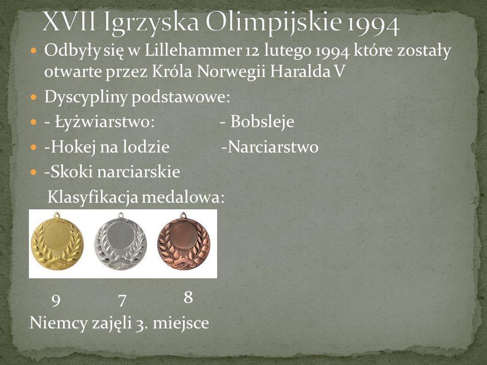 Odbyły się w Lillehammer 12 lutego 1994 które zostały otwarte przez Króla Norwegii Haralda V Dyscypliny podstawowe: - Łyżwiarstwo: - Bobsleje -Hokej na lodzie -Narciarstwo -Skoki narciarskie Klasyfikacja medalowa: 9 7 8 Niemcy zajęli 3.