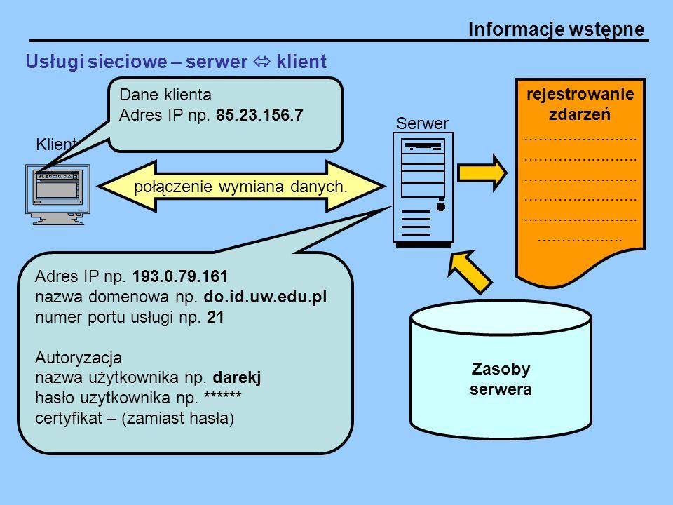Informacje wstępne Usługi sieciowe – serwer  klient Klient Serwer Dane klienta Adres IP np. 85.23.156.7 Adres IP np. 193.0.79.161 nazwa domenowa np.