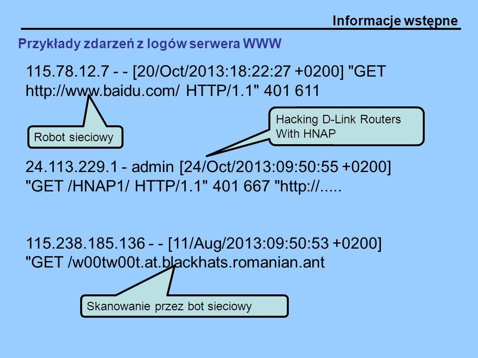 Informacje wstępne 115.78.12.7 - - [20/Oct/2013:18:22:27 +0200]