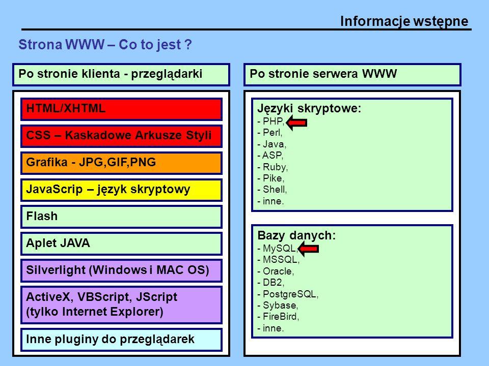 Informacje wstępne Strona WWW – Co to jest ? HTML/XHTML CSS – Kaskadowe Arkusze Styli JavaScrip – język skryptowy Flash Aplet JAVA ActiveX, VBScript,