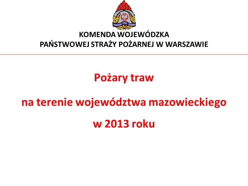Pożary traw na terenie województwa mazowieckiego w 2013 roku KOMENDA WOJEWÓDZKA PAŃSTWOWEJ STRAŻY POŻARNEJ W WARSZAWIE