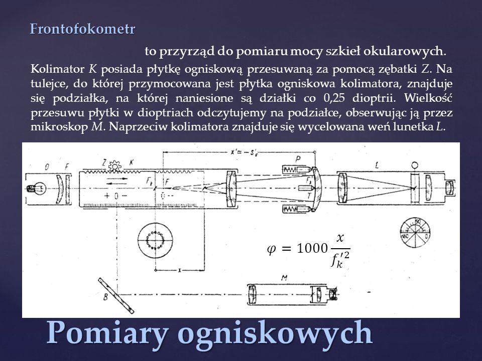 Pomiary ogniskowych Frontofokometr to przyrząd do pomiaru mocy szkieł okularowych.