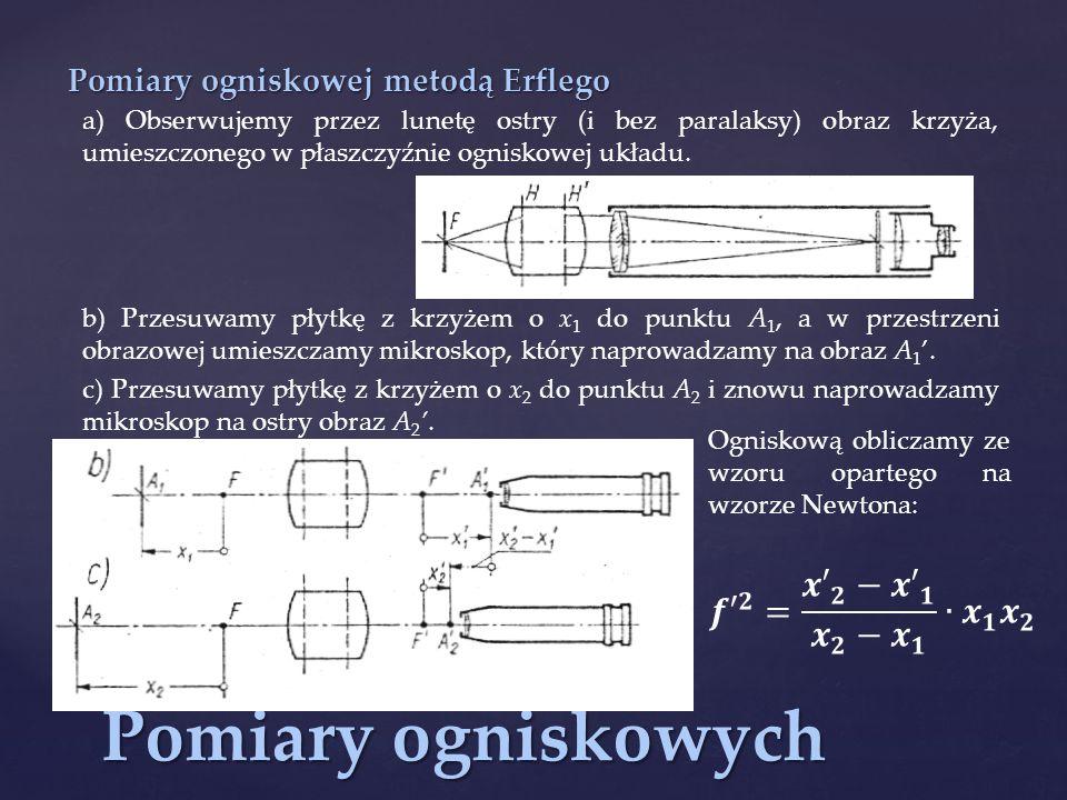 Pomiary ogniskowych Pomiary ogniskowej metodą Erflego a) Obserwujemy przez lunetę ostry (i bez paralaksy) obraz krzyża, umieszczonego w płaszczyźnie ogniskowej układu.