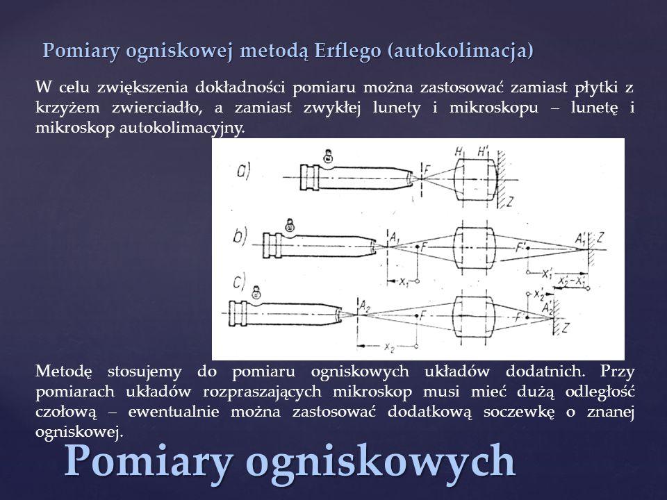 Pomiary ogniskowych Pomiary ogniskowej metodą Erflego (autokolimacja) W celu zwiększenia dokładności pomiaru można zastosować zamiast płytki z krzyżem zwierciadło, a zamiast zwykłej lunety i mikroskopu – lunetę i mikroskop autokolimacyjny.