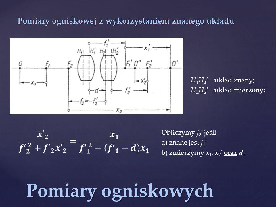 Pomiary ogniskowych Pomiary ogniskowej z wykorzystaniem znanego układu H 1 H 1 ' – układ znany; H 2 H 2 ' – układ mierzony; Obliczymy f 2 ' jeśli: a) znane jest f 1 ' b) zmierzymy x 1, x 2 ' oraz d.