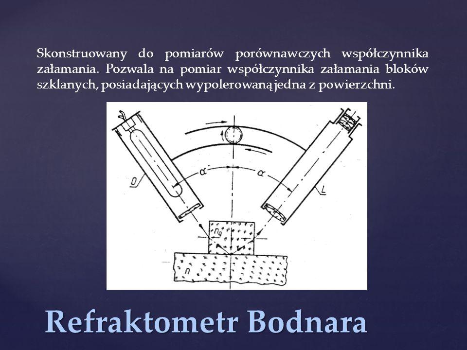 Refraktometr Bodnara Skonstruowany do pomiarów porównawczych współczynnika załamania. Pozwala na pomiar współczynnika załamania bloków szklanych, posi