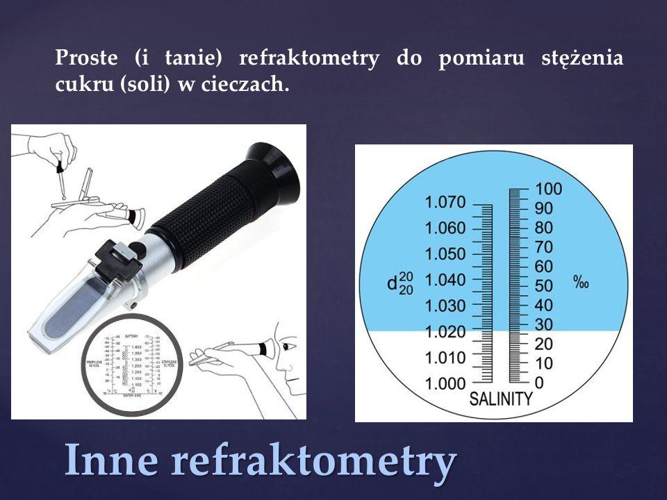 Inne refraktometry Proste (i tanie) refraktometry do pomiaru stężenia cukru (soli) w cieczach.