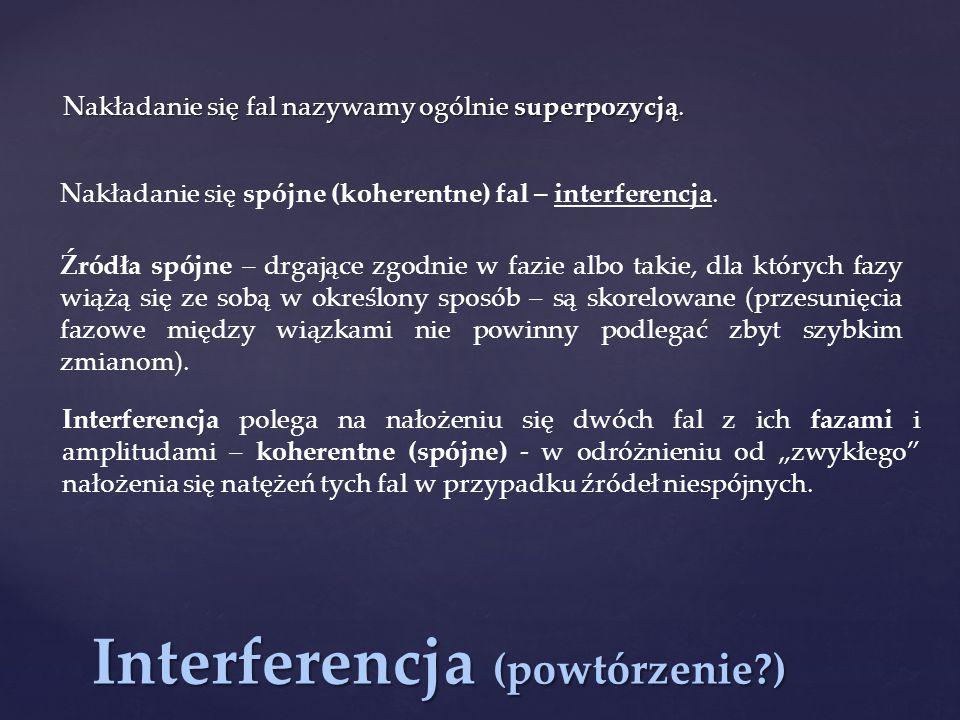 Interferencja (powtórzenie?) Nakładanie się fal nazywamy ogólnie superpozycją. Nakładanie się spójne (koherentne) fal – interferencja. Źródła spójne –
