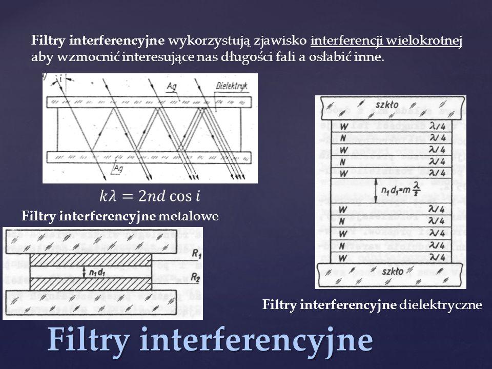 Filtry interferencyjne Filtry interferencyjne wykorzystują zjawisko interferencji wielokrotnej aby wzmocnić interesujące nas długości fali a osłabić i