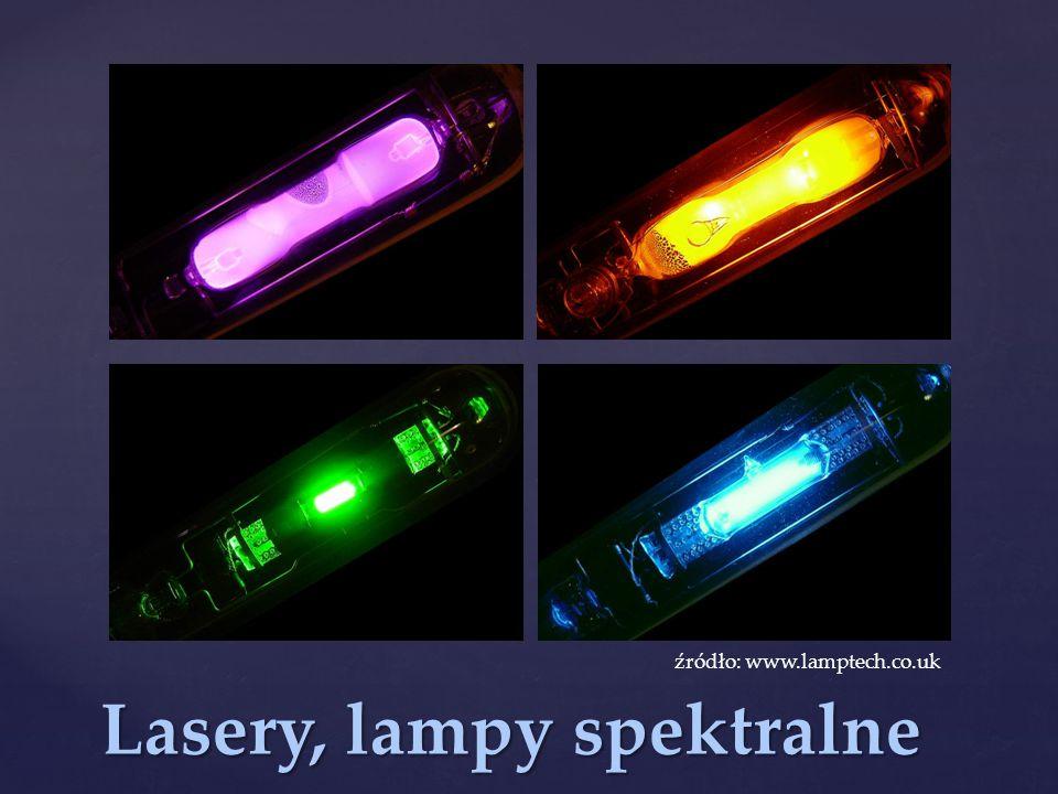 Lasery, lampy spektralne źródło: www.lamptech.co.uk