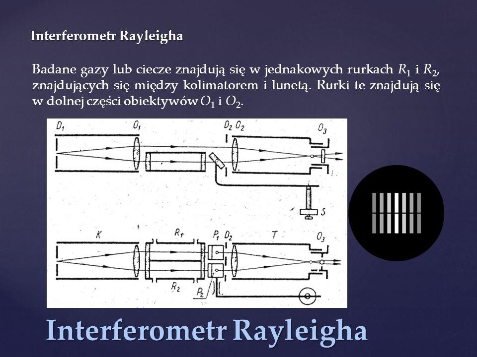 Interferometr Rayleigha Badane gazy lub ciecze znajdują się w jednakowych rurkach R 1 i R 2, znajdujących się między kolimatorem i lunetą. Rurki te zn