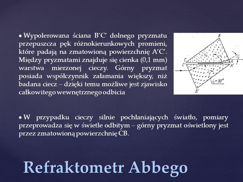 Refraktometr Abbego  Wypolerowana ściana B'C' dolnego pryzmatu przepuszcza pęk różnokierunkowych promieni, które padają na zmatowioną powierzchnię A'