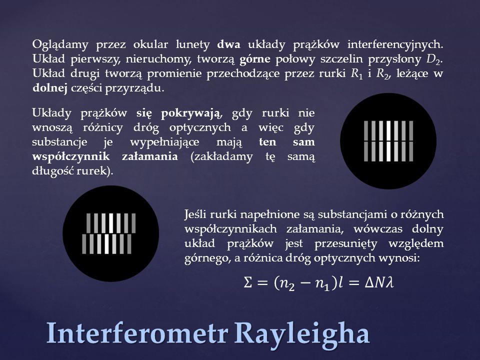 Interferometr Rayleigha Oglądamy przez okular lunety dwa układy prążków interferencyjnych. Układ pierwszy, nieruchomy, tworzą górne połowy szczelin pr