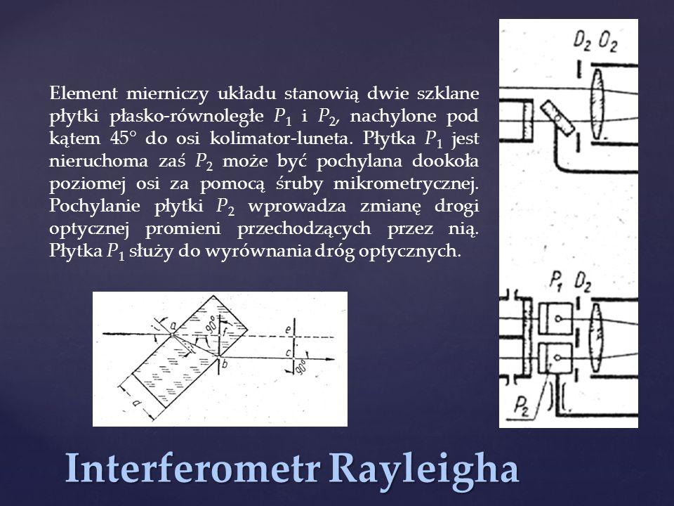 Interferometr Rayleigha Element mierniczy układu stanowią dwie szklane płytki płasko-równoległe P 1 i P 2, nachylone pod kątem 45° do osi kolimator-lu