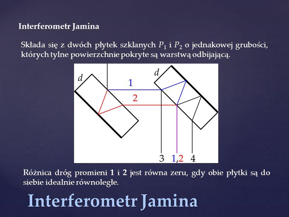 Interferometr Jamina Składa się z dwóch płytek szklanych P 1 i P 2 o jednakowej grubości, których tylne powierzchnie pokryte są warstwą odbijającą. Ró