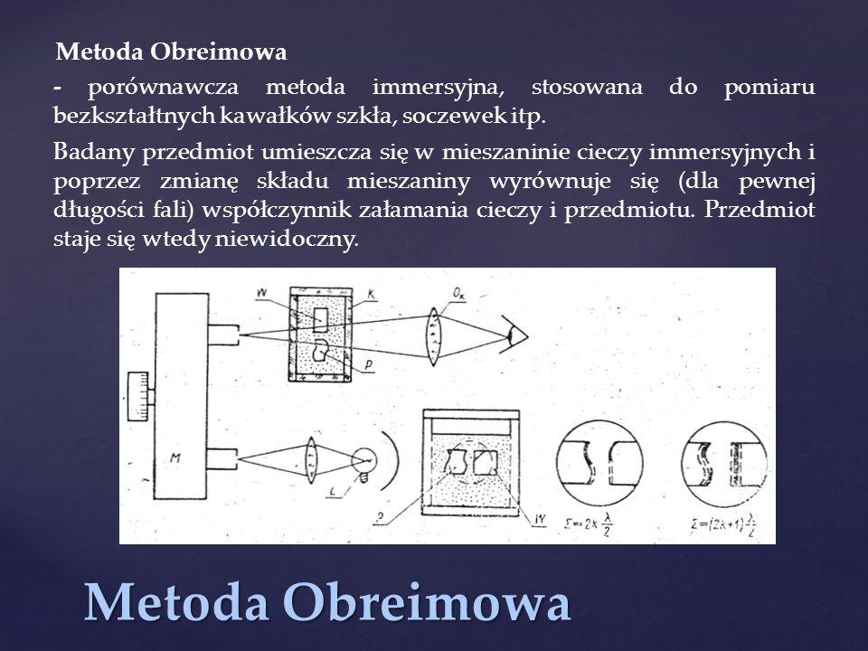 Metoda Obreimowa - porównawcza metoda immersyjna, stosowana do pomiaru bezkształtnych kawałków szkła, soczewek itp. Badany przedmiot umieszcza się w m