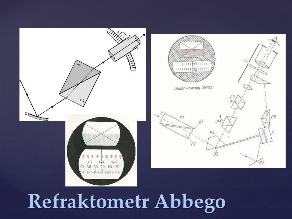Pomiary na refraktometrze Abbego można prowadzić również używając jako źródła światła zwykłej lampy lub światła słonecznego.