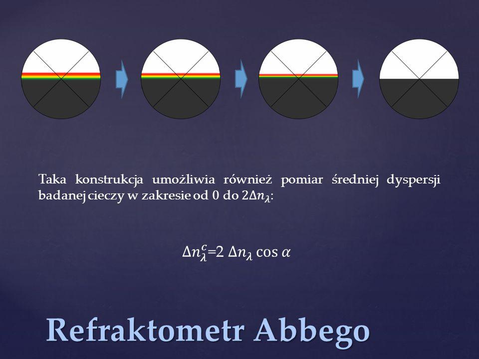 Refraktometr Abbego może również służyć do pomiaru współczynnika załamania ciał stałych w świetle odbitym.