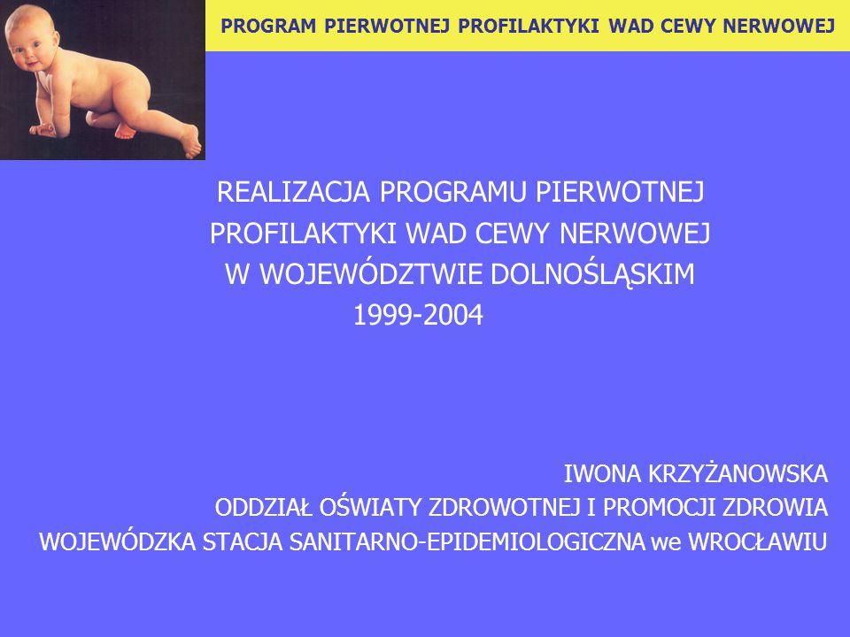 REALIZACJA PROGRAMU PIERWOTNEJ PROFILAKTYKI WAD CEWY NERWOWEJ W WOJEWÓDZTWIE DOLNOŚLĄSKIM 1999-2004 IWONA KRZYŻANOWSKA ODDZIAŁ OŚWIATY ZDROWOTNEJ I PROMOCJI ZDROWIA WOJEWÓDZKA STACJA SANITARNO-EPIDEMIOLOGICZNA we WROCŁAWIU PROGRAM PIERWOTNEJ PROFILAKTYKI WAD CEWY NERWOWEJ
