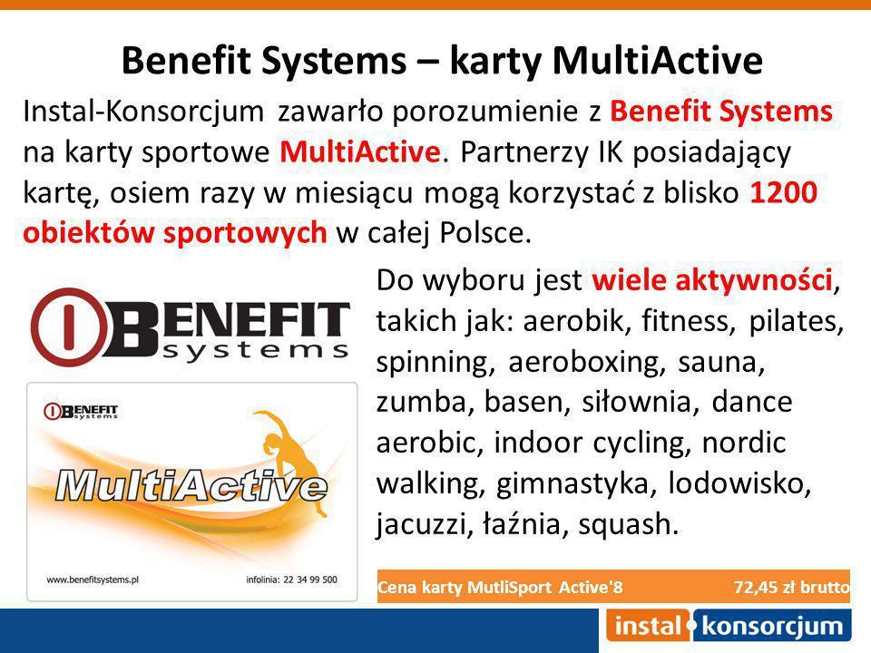 Benefit Systems – karty MultiActive Cena karty MutliSport Active 872,45 zł brutto Do wyboru jest wiele aktywności, takich jak: aerobik, fitness, pilates, spinning, aeroboxing, sauna, zumba, basen, siłownia, dance aerobic, indoor cycling, nordic walking, gimnastyka, lodowisko, jacuzzi, łaźnia, squash.