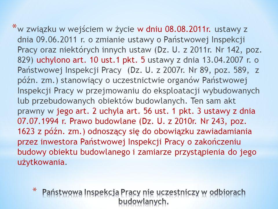 * w związku w wejściem w życie w dniu 08.08.2011r. ustawy z dnia 09.06.2011 r. o zmianie ustawy o Państwowej Inspekcji Pracy oraz niektórych innych us