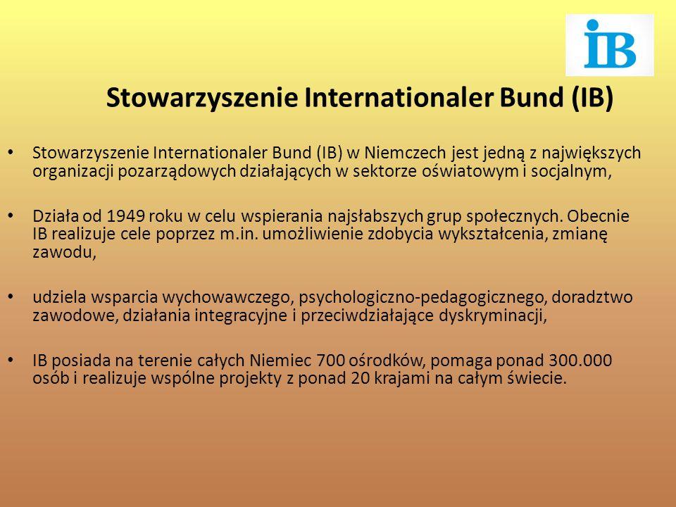 Stowarzyszenie Internationaler Bund (IB) w Niemczech jest jedną z największych organizacji pozarządowych działających w sektorze oświatowym i socjalnym, Działa od 1949 roku w celu wspierania najsłabszych grup społecznych.