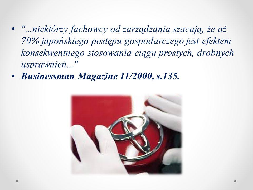 ...niektórzy fachowcy od zarządzania szacują, że aż 70% japońskiego postępu gospodarczego jest efektem konsekwentnego stosowania ciągu prostych, drobnych usprawnień... Businessman Magazine 11/2000, s.135.