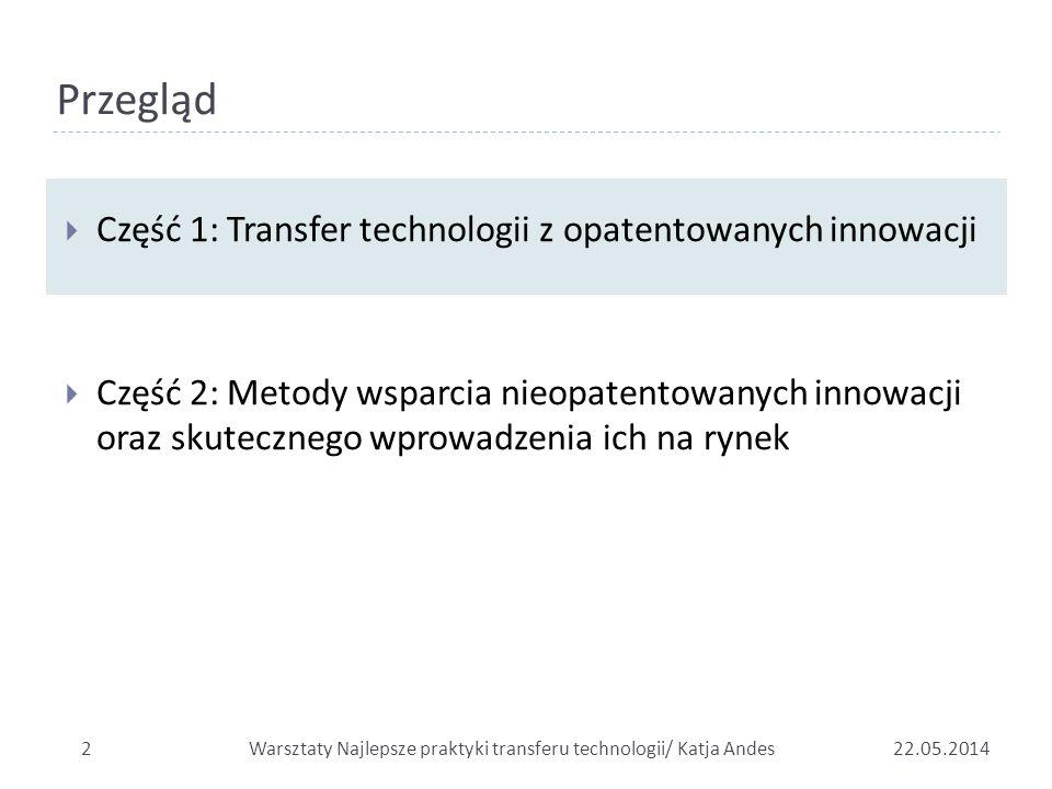 Przegląd  Część 1: Transfer technologii z opatentowanych innowacji  Część 2: Metody wsparcia nieopatentowanych innowacji oraz skutecznego wprowadzen