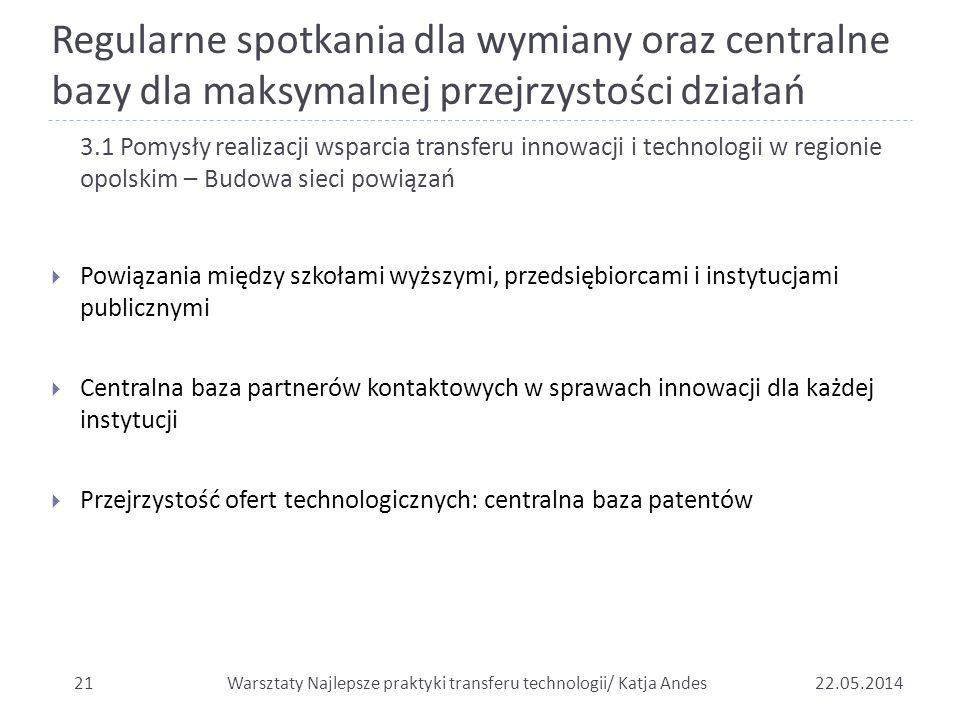 Regularne spotkania dla wymiany oraz centralne bazy dla maksymalnej przejrzystości działań 2122.05.2014 3.1 Pomysły realizacji wsparcia transferu inno