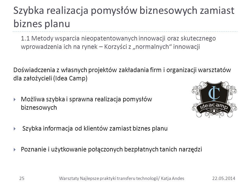 Szybka realizacja pomysłów biznesowych zamiast biznes planu 2522.05.2014 1.1 Metody wsparcia nieopatentowanych innowacji oraz skutecznego wprowadzenia