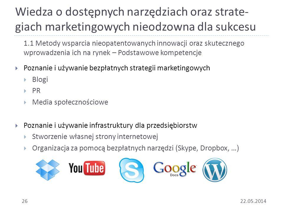 Wiedza o dostępnych narzędziach oraz strate- giach marketingowych nieodzowna dla sukcesu 2622.05.2014 1.1 Metody wsparcia nieopatentowanych innowacji