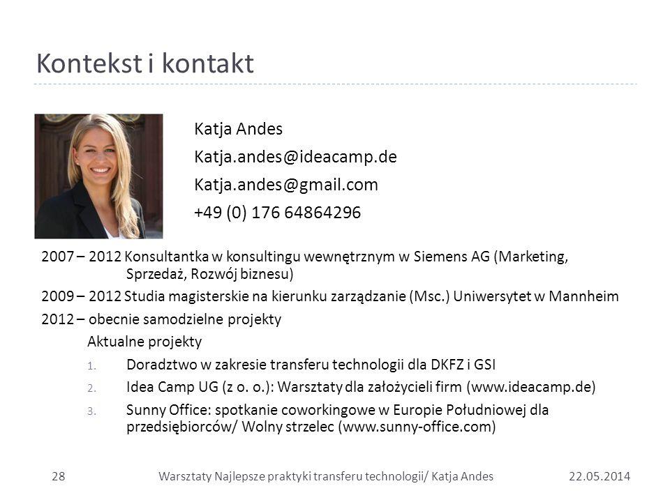 Kontekst i kontakt Katja Andes Katja.andes@ideacamp.de Katja.andes@gmail.com +49 (0) 176 64864296 2007 – 2012 Konsultantka w konsultingu wewnętrznym w
