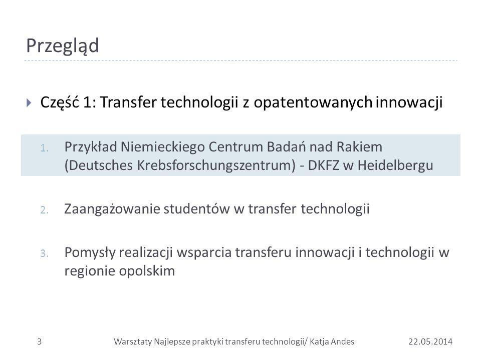 Przegląd  Część 1: Transfer technologii z opatentowanych innowacji 1. Przykład Niemieckiego Centrum Badań nad Rakiem (Deutsches Krebsforschungszentru