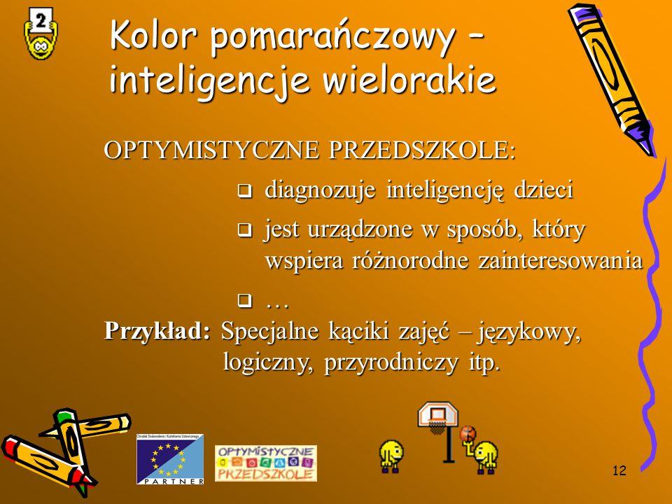 12 Kolor pomarańczowy – inteligencje wielorakie OPTYMISTYCZNE PRZEDSZKOLE:  diagnozuje inteligencję dzieci  jest urządzone w sposób, który wspiera r