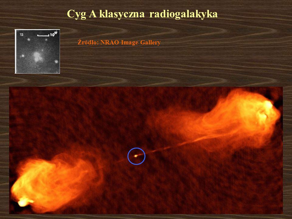 Cyg A klasyczna radiogalakyka Źródło: NRAO Image Gallery