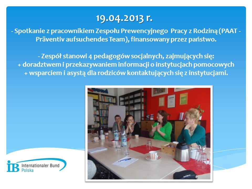 - Spotkanie z pracownikiem Zespołu Prewencyjnego Pracy z Rodziną (PAAT - Präventiv aufsuchendes Team), finansowany przez państwo. - Zespół stanowi 4 p