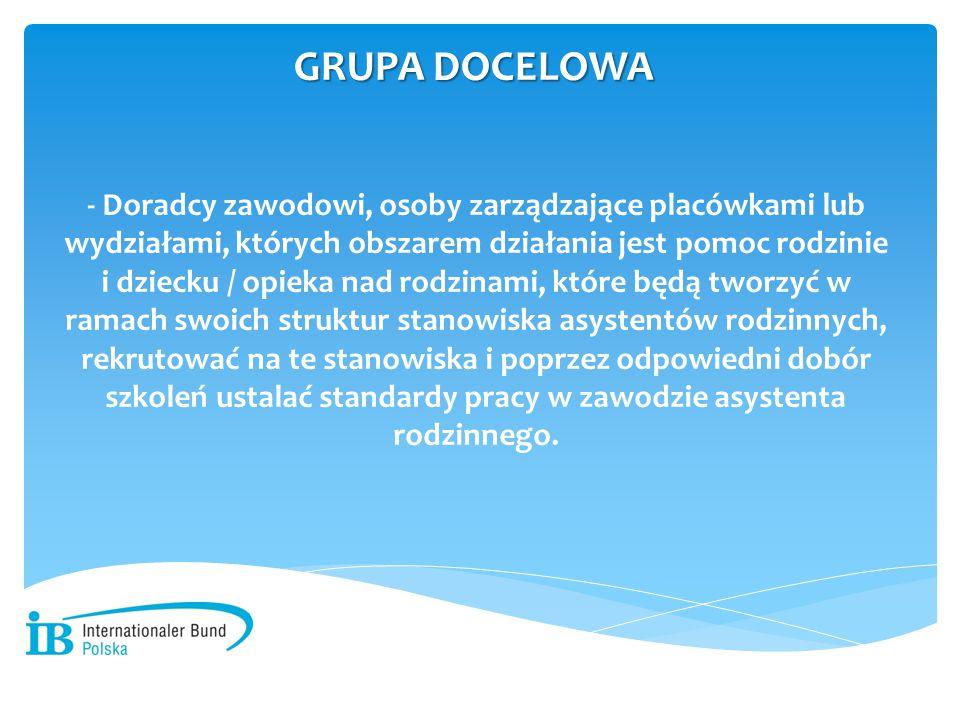 - Doradcy zawodowi, osoby zarządzające placówkami lub wydziałami, których obszarem działania jest pomoc rodzinie i dziecku / opieka nad rodzinami, któ