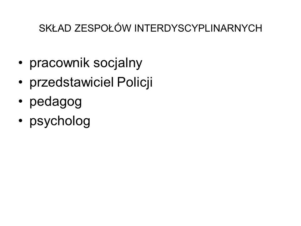 SKŁAD ZESPOŁÓW INTERDYSCYPLINARNYCH pracownik socjalny przedstawiciel Policji pedagog psycholog