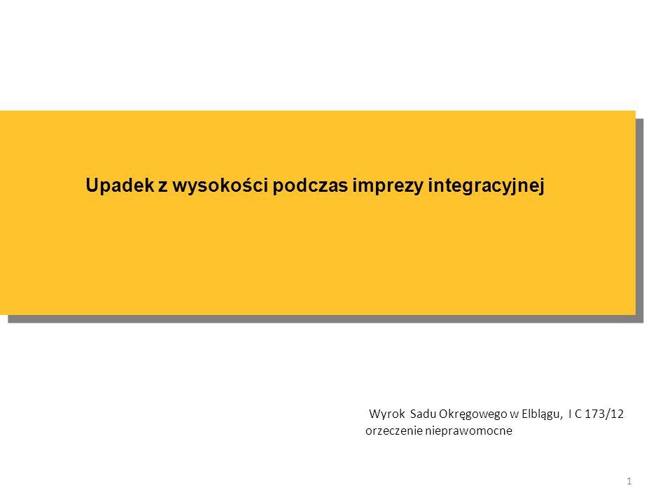 Upadek z wysokości podczas imprezy integracyjnej 1 Wyrok Sadu Okręgowego w Elblągu, I C 173/12 orzeczenie nieprawomocne
