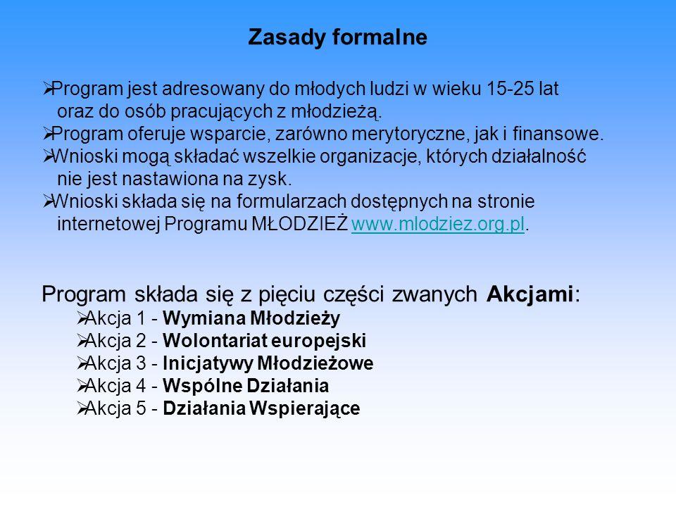 Zasady formalne  Program jest adresowany do młodych ludzi w wieku 15-25 lat oraz do osób pracujących z młodzieżą.